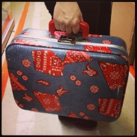 Kiddie Suitcase (with denim and red bandana print)